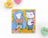Valentine Sweethearts Magnet - Boyfriend and Girlfriend doodle Magnet - Woodland Wedding Gift - Bride and Groom - Valentine Magnet