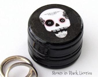Sugar Skull Pill Box - Skull Non Toxic Vitamin Box - Gothic Punk Skull Wedding Ring Box - Skull Ring Bearer Box