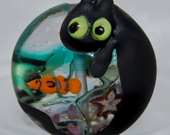 Lorraine Dowdle Lamwork glass focal bead : Fish Bowl with Complex Murrini