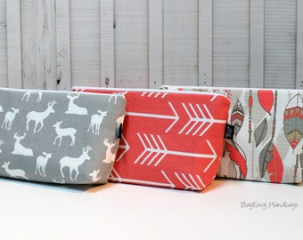 Large Make Up Bag / Diaper Clutch - Coral Arrows - Feathers - Deer - You Choose