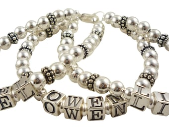 Double strand- or 1,2 3 or 4 strands with up to 56 letters- sterling silver custom personalized name bracelet for ladies, Mothers