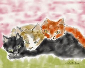 Cat Art Print LoveBugs