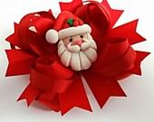 Santa Hair Bow   - Girls Hair Bows -   Boutique Hair Bow - Hair Bows - Twisted Boutique Bows -  Girls Hair Accessories -- Toddler Bow