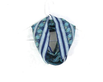 Sari Silk Infinity Scarf Turquoise Scarf Spring Scarf Summer Scarf Lightweight Scarf Upcycled Scarf Eco Fashion Jewel Tones Gift for Mom