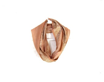 Upcycled Sari Infinity Scarf Womens Scarf Beige Scarf Fall Scarf Summer Scarf Lightweight Scarf Upcycled Scarf Eco Fashion Gold Gift for Her