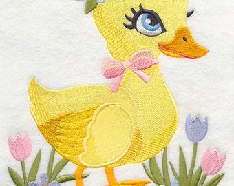 SWEET SPRING DUCKLING - Machine Embroidered Quilt Block (AzEB)