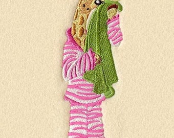 GIRAFFE In PAJAMAS - Machine Embroidery Quilt Block (AzEB)