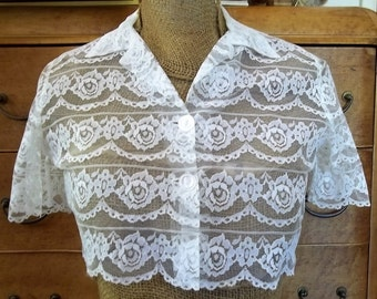 """Vintage Original 60's White lace Short Over Jacket Short Sleeves Prom sz Small bust 36-37"""""""