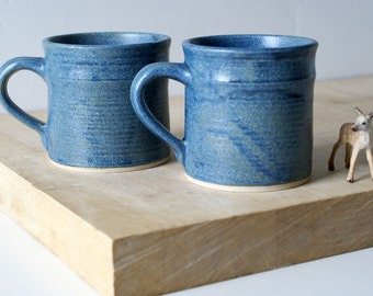 Straight sided mugs - hand thrown stoneware in smokey blue