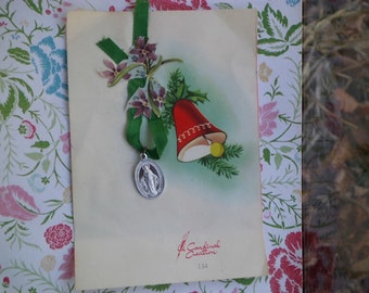 Vintage Aluminum Miraculous Medal on Card