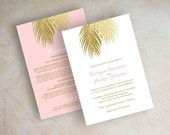 Beach wedding invitations, gold glitter palm leaf wedding invitation, pink and gold, faux glitter, blush, gold, tropical destination, Palms