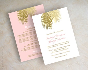 Beach Wedding Invitation - Pink and Gold Wedding Invitations - Destination Wedding Invitation - Glitter Wedding Invitations - Gold - Palms