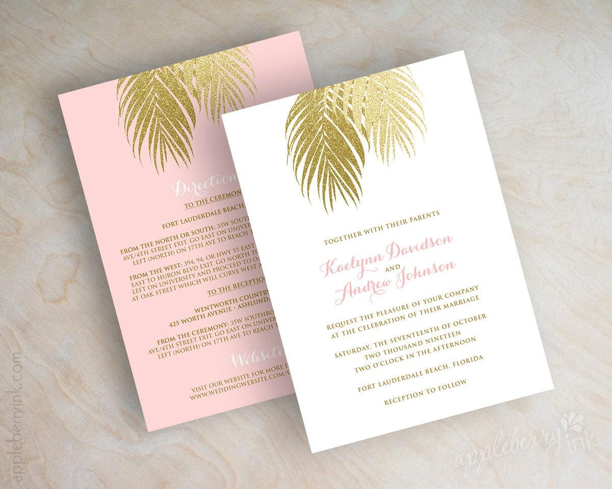Gold Embossed Wedding Invitations: Beach Wedding Invitation Pink And Gold Wedding Invitations