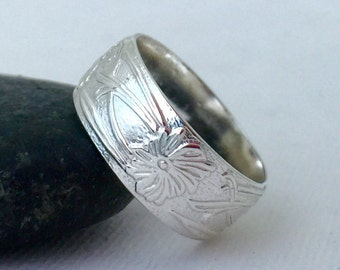 Flower Wedding Band Silver Floral Pattern Ring Wedding Band Victorian Wedding Bands Renaissance Wedding Ring Gift for Her Promise Rings