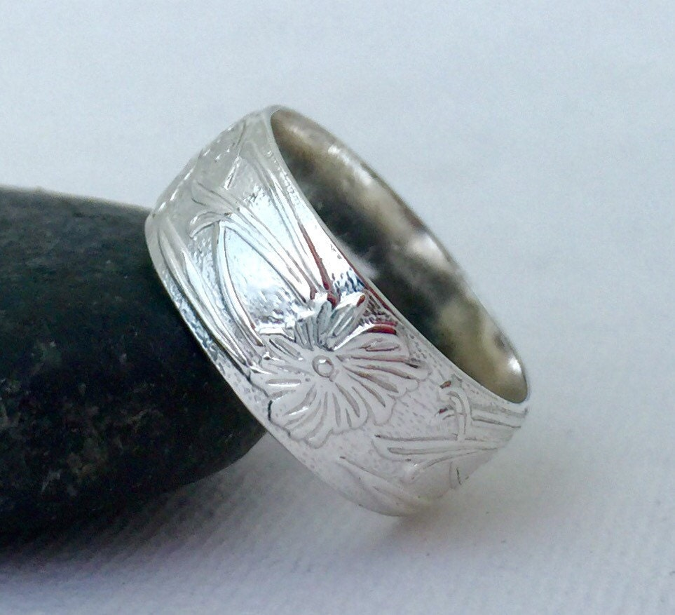 Flower Wedding Band Silver Floral Pattern Ring By SilverSmack