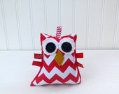 Red Owl Rattle Plush Owl Softie Chevron Ready to Ship