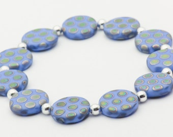 Forever Boho | Blue Stretch Bracelet | Boho Elastic Bracelet | Czech Glass Bracelet | Layering Bracelet | Bracelet - S, M, L - 1BRC0011SS