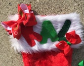 Personalized Christmas Xmas Stocking - Red Holiday Tree Ribbon with White Ribbon Underneath Monogrammed - Kids Children Adults
