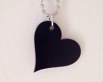 Lasercut Heart Necklace in Black, Heart Jewelry, Girlfriend Valentine Jewelry, Valentines Day Present