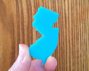 New Jersey Pin - Turquoise Blue Lasercut Acrylic - State Shape Brooch