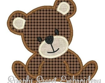 Teddy Bear Machine Embroidery Applique Design