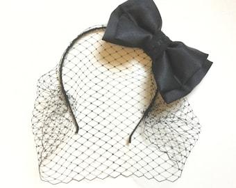 Black bow headband, black birdcage veil, fascinator.