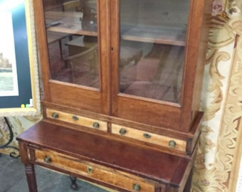 Antique Federal Desk Secretary Cabinet  1800's Beautiful Piece 35w19d66h Shipping is Not free