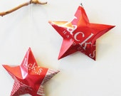 Jack's Hard Cider,  Christmas Ornament, Recycled, Upcycled, Decor, Star from Can