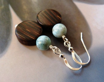 Larimar old palm wood earrings, natural wood beads Sterling silver jewelry, blue gem earrings, dangle earrings, gift for her, birthday gift
