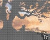 Tara Plantation at Sunset Cross Stitch Pattern PDF