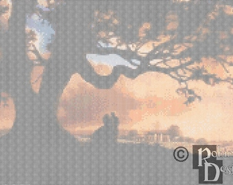 Tara Plantation at Sunset Cross Stitch Pattern PDF