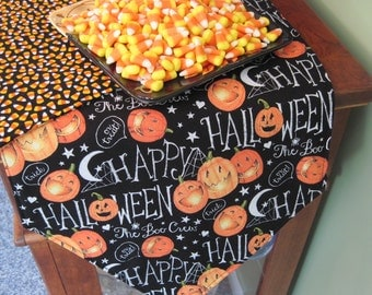 "Happy Halloween Table Runner 36""-54""-72"" Candy Corn Table Runner Pumpkins Table Runner Jack O Lantern Table Runner Black Orange Table Runner"