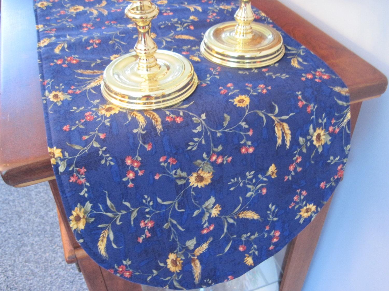 blue sunflower table runner 36 inch table runner blue and. Black Bedroom Furniture Sets. Home Design Ideas