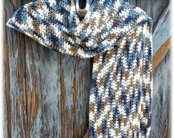 Kerchief/scarf/triangle wrap/blanket scarf.Boho.Hand crocheted in cool variegated color combo.Great for all seasons.Made to order