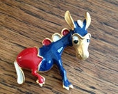 Darling Donkey Brooch Red White Blue Democrat