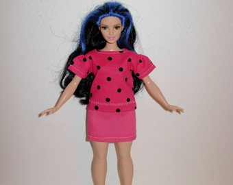 Handmade barbie clothes. Cute outfit for new barbie curvy doll