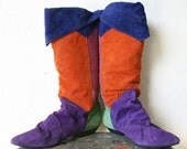 Vintage 1990s Multi Color Leather Knee High Slouch Boots by Passports Size 8.5