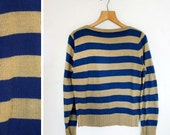 Vintage 1970s Tan and Blue Stripe Sweater Size S/M