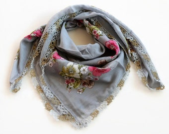Gray Floral Printed Scarf, Authentic Scarf, Turban Scarf, Gray, Tatting Lace Trim, Soft Muslin, Bohemian, Cheesecloth, Bandana, OOAK