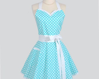 Sweetheart Retro Womans Apron . Flirty Sexy Cute Kitchen Cooking Apron in Vintage Teal and White Polka Dot Full Hostess Womens Aprons
