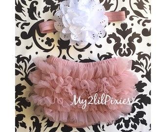HEADBAND and BLOOMERS vintage pink and white. Ruffle Bum Baby BLOOMER Set,Eyelet Flower headband, Newborn Photo Prop,ready to ship