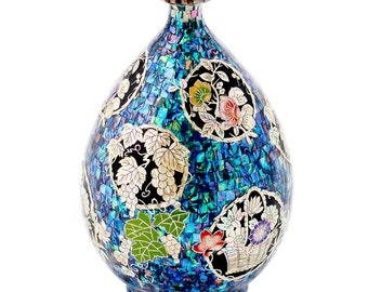 Mother of Pearl Wood Inlay Art Decorative Blue Grape Flower Floral Butterfly Sea Shell Home Wedding Deco Accent Mini Housewarming Gift Vase