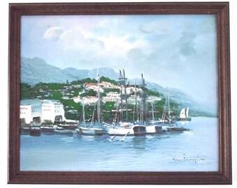 Vintage Seascape Painting // San Francisco Sailboats // Sausalito Yacht Harbor Marina California // Original Framed Signed