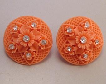 Vintage Plastic Coral & Rhinestone Earrings