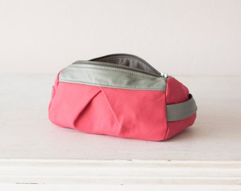 Cosmetic bag in pink canvas and grey leather, makeup case accessory bag utility case travel storage  - Estia Bag
