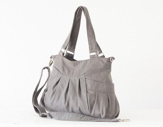 Canvas bag in grey, crossbody bag purse shoulder bag cotton bag crossover purse messenger diaper bag - Elessa bag