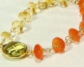 Lemon Topaz Citrine Orange Chalcedony Gemstone Bracelet, Gold Gemstone Bracelet
