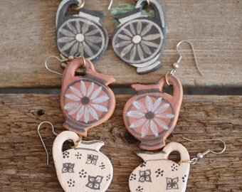 vintage handmade greek pitcher earrings, handpainted summer goddess