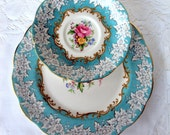 Vintage Royal Albert Bone China Salad Plate,Footed Cup Saucer, 1950s,Blue Floral, Enchantment, English China,Dining Serving,Party,Wedding