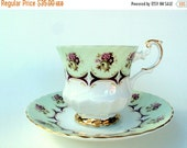 VALENTINES SALE Vintage Royal Dover Bone China Cup and Saucer,1950s,England,Pink Burgandy Roses, Footed, Gold Trims, Ivory White,Tea/Coffee,